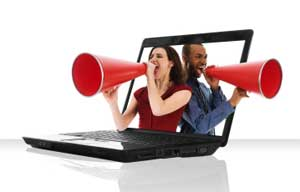 laptop megaphone Coach